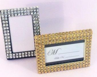 Bling Wedding table number frames, mini frame, rsvp cards, photo frames, rhinestone place card holder