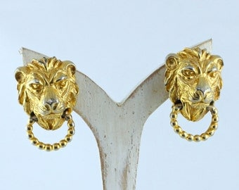 Vintage Gold Lion Clip On Earrings