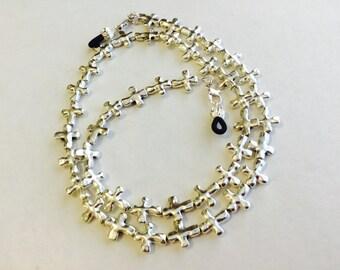 Handmade Silver Cross Eyeglass Chain-Sunglass Chain-Eyeglass Holder-Eyeglass Cord-Chain for Glasses-Necklace