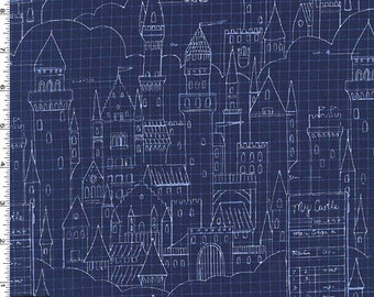 Magic - Castle Plans Fabric (Metallic) - Navy - sold by the 1/2 yard