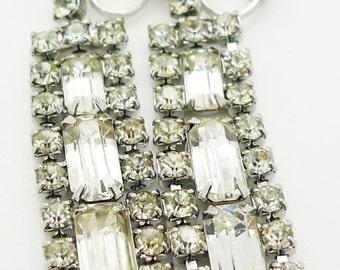 Vintage Crystal Clip on Dangle Earrings
