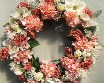 COTTAGE GARDEN WREATH, Summer Wreath, Silk Flower Wreath, Wreath For Door,  Rose