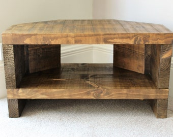 Rustic Handcrafted Chunky Reclaimed corner TV Unit stand/cabinet In walnut wax.