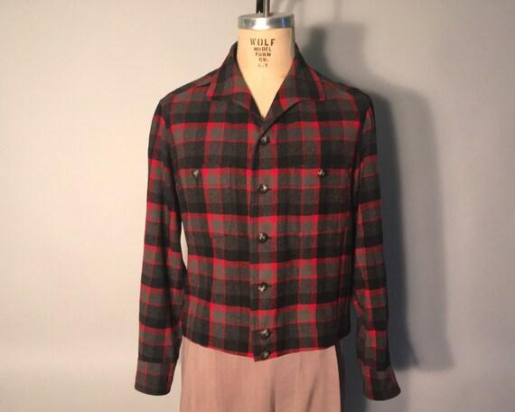 1950s Mens Jacket | Red Black and Grey Plaid Wool Shirt | Small $27.00 AT vintagedancer.com