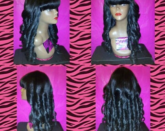 Chinese Bang/Loose Curls Full Custom Wig