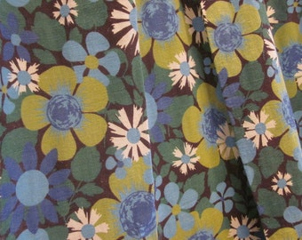 Vintage 70's Curtains, Flower Power 70's Curtains,  Blue Green Floral Curtains, Mid Century Curtains, Mid Century Drapes
