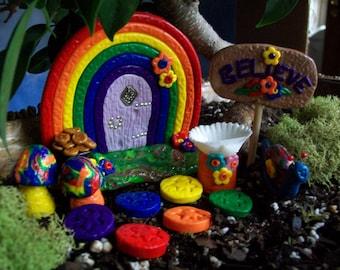 Rainbow Fairy Garden Door, Fairy Garden Kit, Fairy Garden, Handmade Fairy Garden, Fairies, Rainbow, Fairy Garden Accessories, Rainbow