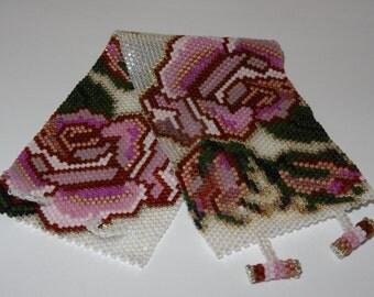 Silver Roses Peyote Beaded Bracelet