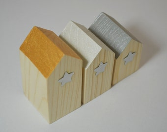 Little Wooden Houses-Trio of houses-miniature houses-Scandi decor-christmas decorations