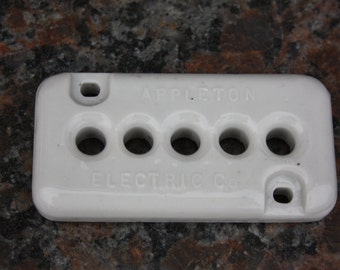 Vintage Appleton Electric Porcelain Condulet Cover With Wire Holes