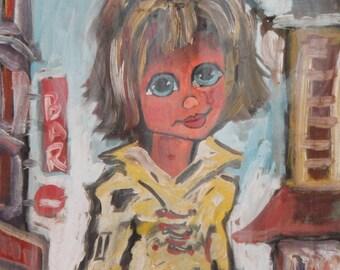 Modernist Oil Painting Child Portrait Signed