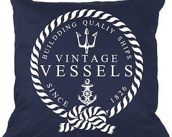 beach house throw pillow, vintage nautical pillow, navy blue and white, vintage vessel