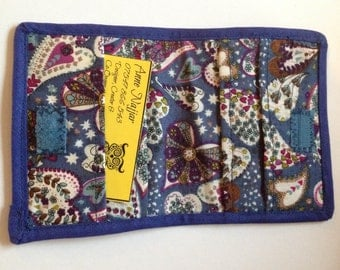 Denim Mosaic Hearts & Lace Card Holder Wallet, Credit Card Case, Gift Card or Business Cards