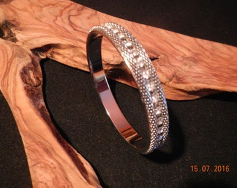 Silver-tone Metal Mesh/Clear Rhinestone Studded Bangle