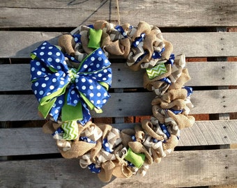 Blue and Green Burlap Wreath