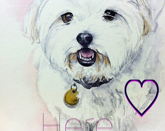 Custom Hand Painted Watercolor Dog Painting 8x10 Realistic Pet Portrait