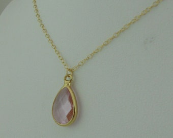Pink Crystal Teardrop Pendant Necklace and Earrings