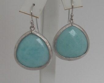 Teardrop Light Blue Agate Pendant Drop Earrings