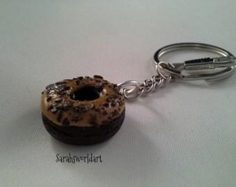 Polymer chocolate clay doughnut keyring, miniature doughnut, clay doughnut, keyring, bag charm, planner charm, clay food