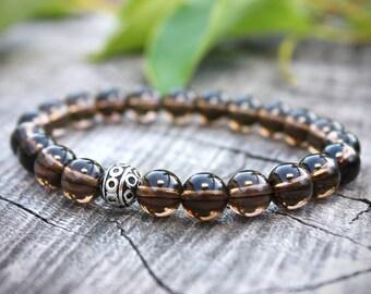 Smoky Quartz Bracelet, Smokey Quartz Bracelet, Chakra Bracelet, Energy Bracelet, Yoga Bracelet, Meditation Bracelet, Mens Bead Bracelet, 8mm