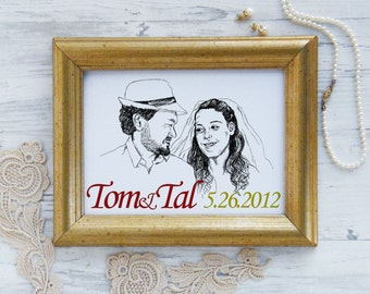 Custom portrait, Wedding date sign, Just married, Wedding gift, Custom illustration, Personalized couple, Black and white sketch