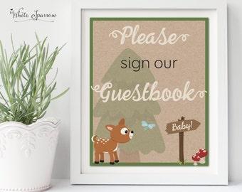 Woodland Baby Shower Sign. Neutral Baby Shower. Rustic Baby Shower. Baby Shower Decorations. Guestbook Sign. Baby Shower Guestbook.