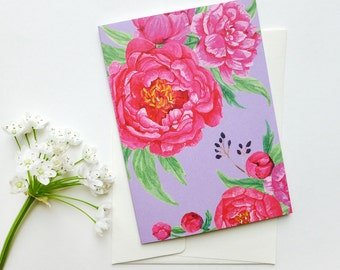 folded card with envelope / peonies