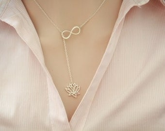 lotus and infinity tiny, simple, dainty, cute , gold plated necklace, jewelry, pendant, charm, chain