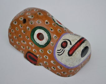 Wall Decor Brown MonkeyMask  - Hand Carved Hand - Painted from Guatemala - Bohemian Decor - Wood Art