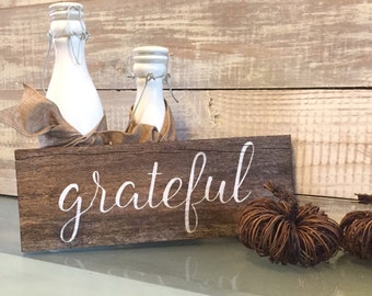 Grateful sign, Fall decoration, rustic, Fall sign, hand painted wood, Thanksgiving decoration, thankful sign