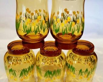 Libbey Amber Tulip Design Glass Set