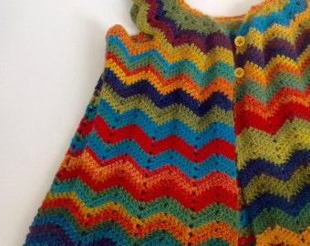 Rainbow chevron cardigan  |  crochet  |  handmade   |  girlswear