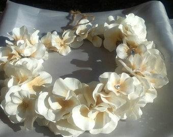 Wedding Wreath flower hair Champagne ivory head piece