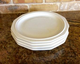 Pfaltzgraff Heritage Dinner Plate * 10 inch Dinner Plate All White Stoneware Multisided & Pfaltzgraff Round Vegetable Bowl In Heritage White