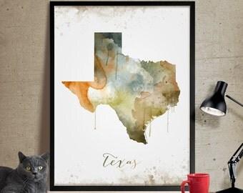 Texas Wall Art, Art Print Texas Decor, Texas Map Art, Watercolor State, Watercolor Texas Print ArtWork (287)