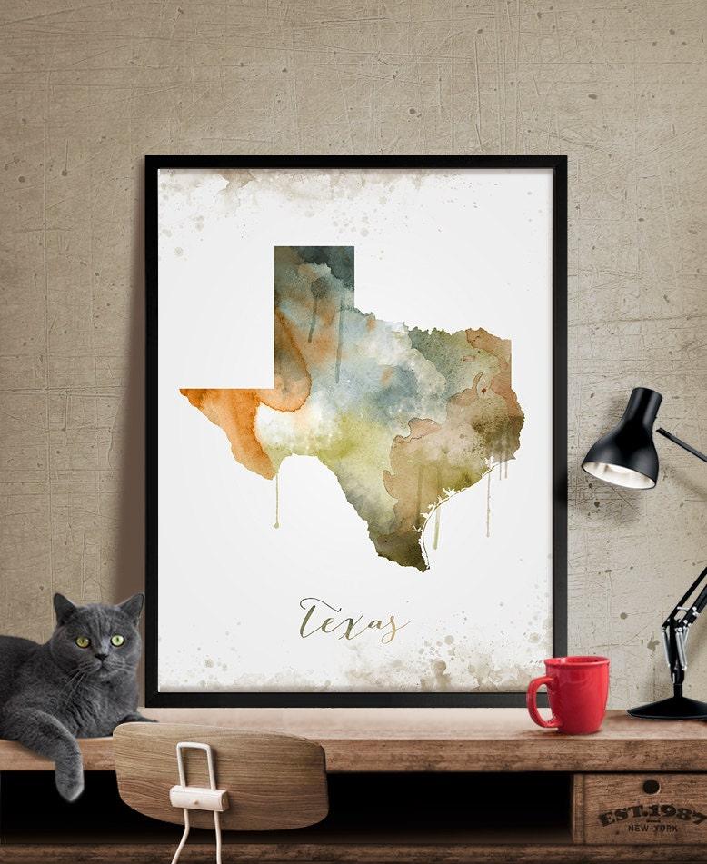 Art Décor: Texas Wall Art Art Print Texas Decor Texas Map Art