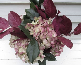 Dried Hydrangea + Preserved Salal (Lemon Leaf)  Bouquet for Christmas, Holiday Home Decor, Wedding  Burgundy, Cream + Green