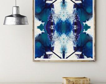 Blue Crush Art Print, Teal Abstract Art Print, Abstract Print, Blue & Teal Abstract Art Print, Giclee Art Print, Modern Abstract Art Print