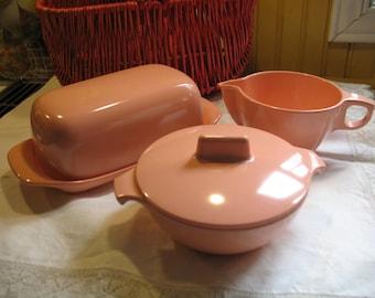 Melmac butter dish, sugar, creamer, pink melmac 1950.Camping Melmac