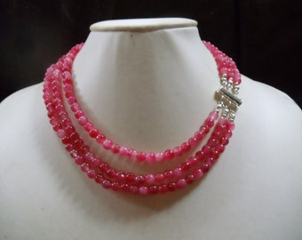 3-row Pfirsischblüten jade necklace of statement jewelry Neclaces