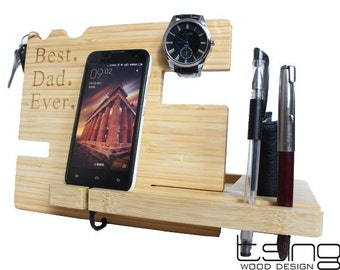 Custom Wooden Dock and Charging Station For iPhone 5, iPhone 6, Mobile, Wallet, Pencils, Accessories