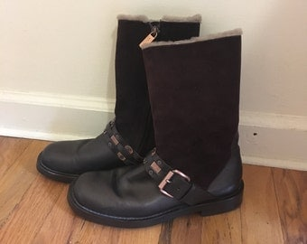 Chocolate Brown Vintage Celine Suede and Shearling Boots