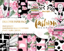 Planner Girl Paper Pack Watercolor Peonies Roses Digital Paper Feminine Fashion Illustrations Cute Hearts Dots Backgrounds Coral Pink Black