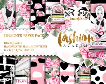 Planner Girl Paper Pack Watercolor Peonies Roses Digital Paper Summer Fashion Illustrations Cute Hearts Dots Backgrounds Coral Pink Black