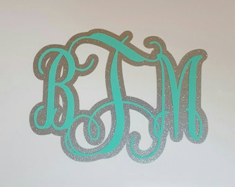 Double Layer Monogram Decal, Glitter Monogram Decal, Mongrammed Decal, Glitter Decal
