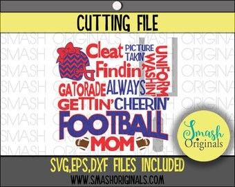 Football Mom Word Art Cut File | SVG EPS DXF Files for Cutting Machines | Football Mom Svg | Football Subway Art | Sports Mom Svg