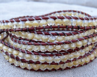 Beaded Wrap Bracelet with Genuine Leather and Czech Glass