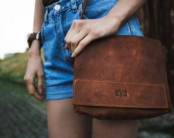 Leather Messenger Bag - Leather Shoulder Bag - Leather Satchel - Mini Bag - Brown Leather Messenger Bag - Brown Satchel Bag - Brown Bag
