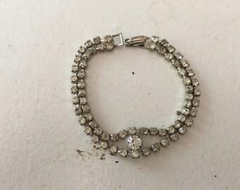 Vintage Clear Rhinestone Chain Bracelet 0629