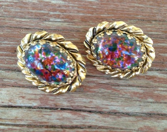 Vintage Multicolored Art Glass  and Gold Clip Earrings 0425
